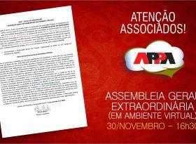 Edital da AGE em ambiente virtual, no próximo dia 30 de novembro, às 16h30